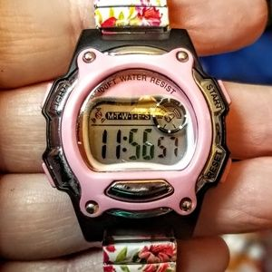 Accessories - Pink and black 100ft water resistant watch